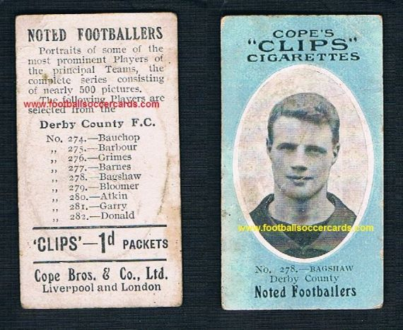 1909 Cope Brothers Noted Footballers 500 series Bagshaw Derby County 278